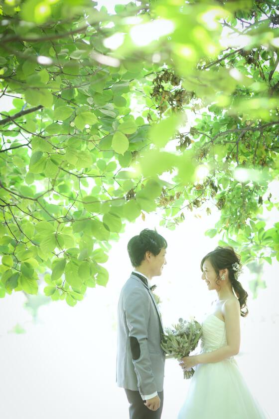 新緑のきれいな葉っぱの下で笑顔で向き合うウェディング衣装を着たふたり