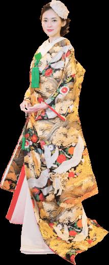 アンティークの和装を着た新婦モデル