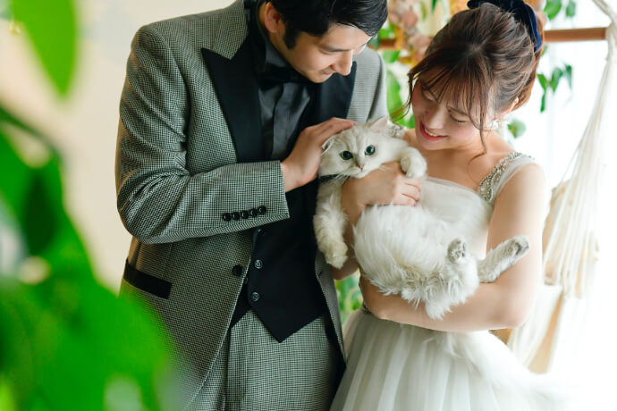 猫と一緒に前撮りしている夫婦