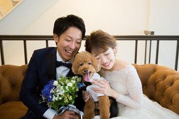 愛犬のトイプードルと一緒にスタジオ撮影している夫婦