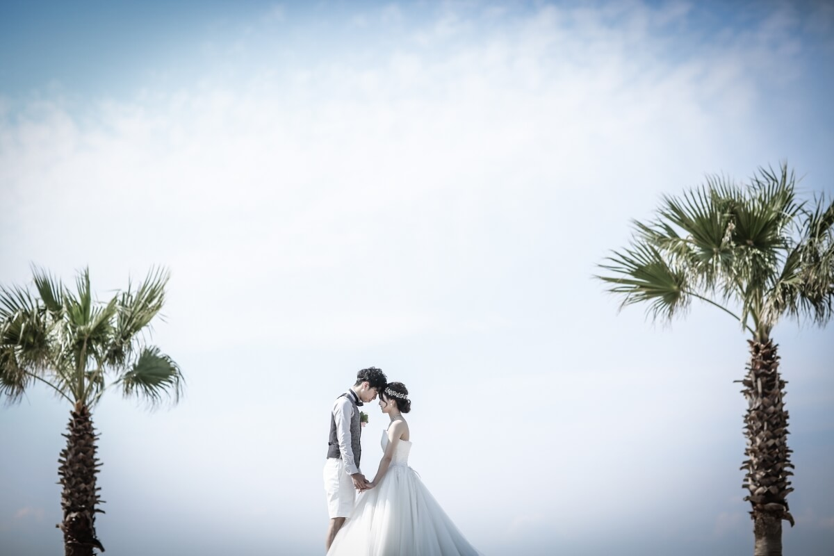 ヤシの木をバックにウェディングドレスとハーフパンツのタキシード姿の二人