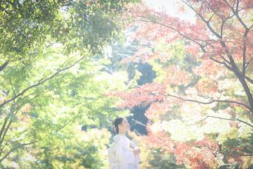 紅葉と新婦と白無垢姿の花嫁
