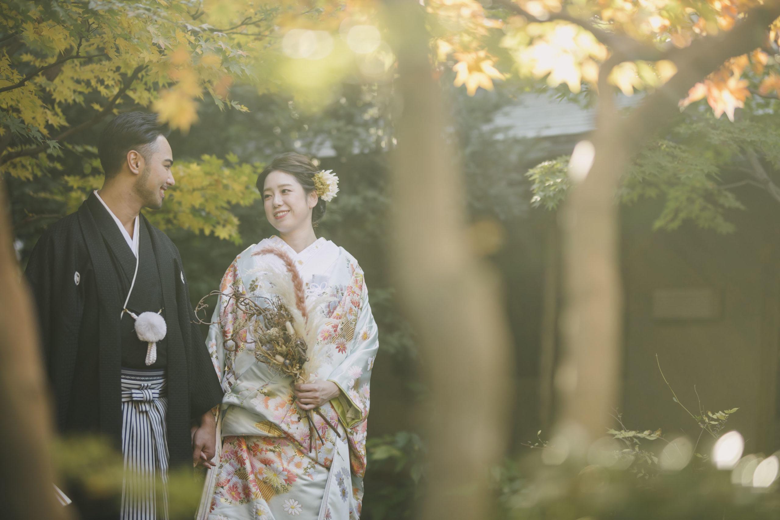 日の光が心地よい目白庭園での和装前撮り撮影