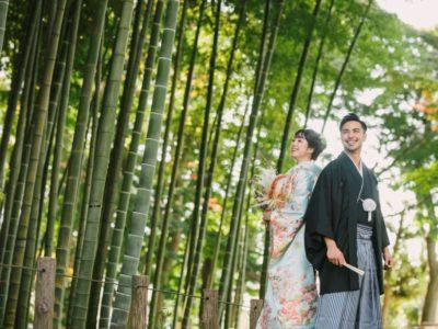 竹林でかっこいい和装前撮り