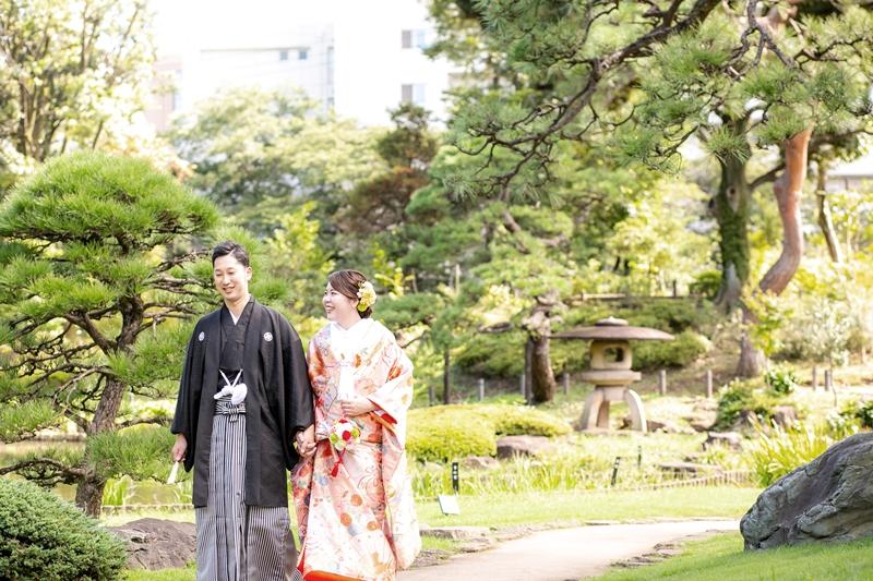 肥後細川庭園の庭園をお散歩フォトウェディング
